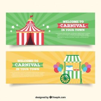Deux bannières de cirque, vert et jaune