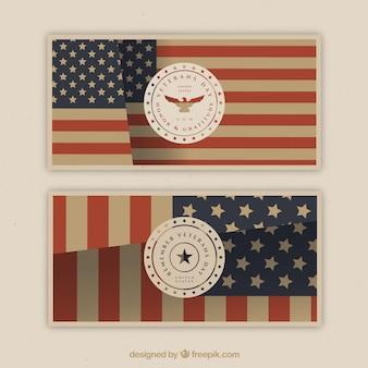 Deux bannières avec le drapeau des états-unis pour les anciens combattants jour