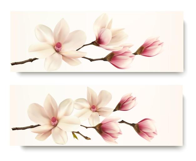 Deux bannières de magnolia. vecteur.