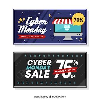 Deux bannières modernes cyber lundi