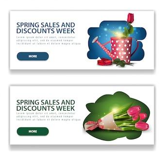 Deux bannières modernes horizontales de vente de printemps blanc
