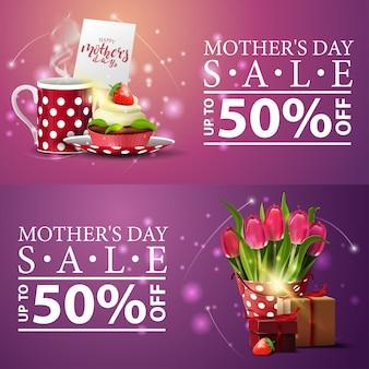 Deux bannières modernes pour la fête des mères