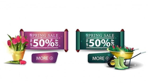 Deux bannières modernes de vente de printemps