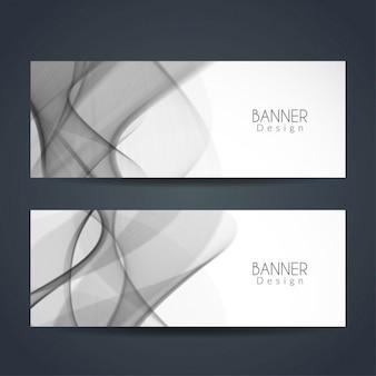 Deux bannières ondulées grises modernes