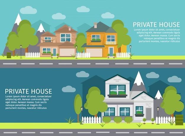 Deux bannières de paysage urbain horizontales colorées et isolées avec des titres de maison privée