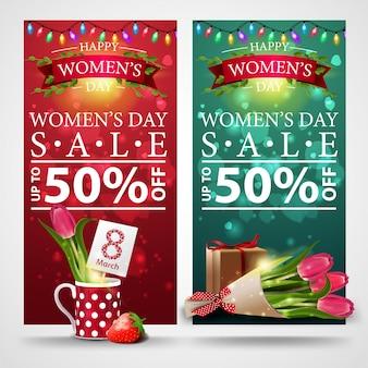 Deux bannières à prix réduit pour la journée de la femme avec guirlande