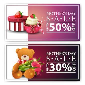 Deux bannières à prix réduits pour la fête des mères