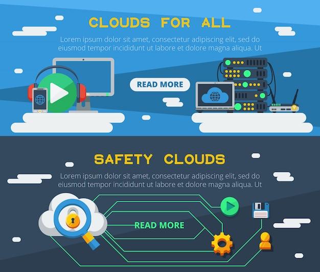 Deux bannières de services cloud