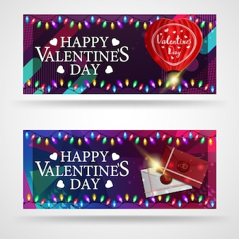 Deux bannières de souhaits modernes pour la saint-valentin avec ballon en forme de coeur et lettres d'amour