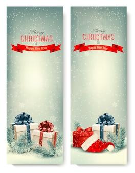 Deux bannières de vacances rétro avec des coffrets cadeaux et des rubans