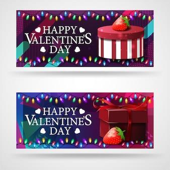 Deux bannières de voeux modernes pour la saint-valentin avec des cadeaux et des fraises