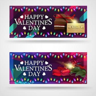 Deux bannières de voeux modernes pour la saint-valentin avec des chocolats et des fleurs