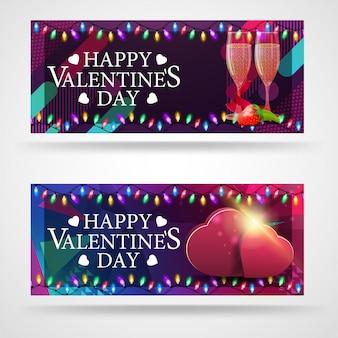 Deux bannières de voeux modernes pour la saint-valentin avec des verres de champagne et des coeurs