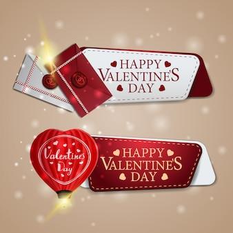 Deux bannières de voeux pour la saint-valentin avec ballon en forme de coeur et lettres d'amour