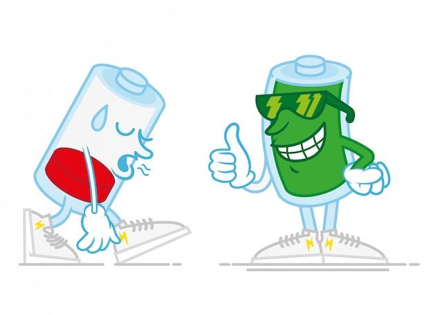 Deux batteries mobiles l'une est très triste fatiguée avec une faible énergie, la seconde est un sourire heureux chargé plein d'énergie dans les lunettes de soleil montre le doigt vers le haut illustration de personnage de dessin animé de style moderne icône du design plat