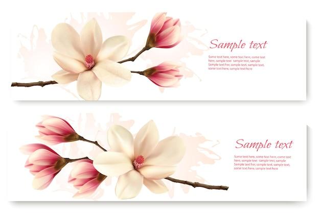 Deux belles bannières de magnolia. vecteur.