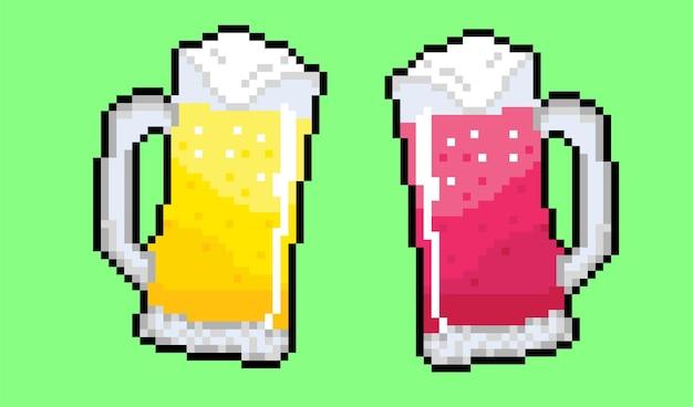 Deux bières jaune et rouge avec un style pixel art