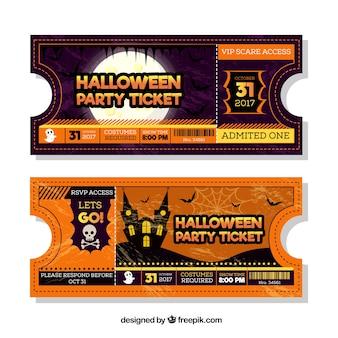 Deux billets de fête d'halloween