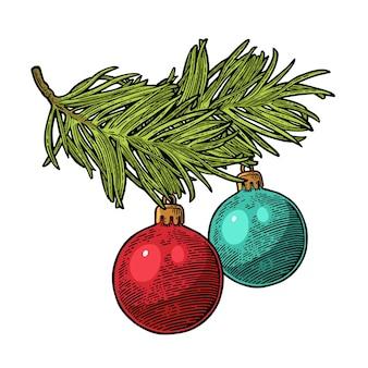 Deux boules de jouets sur une branche de sapin pour l'affiche de joyeux noël et bonne année gravure de vecteur