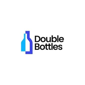 Deux bouteilles logo vector icon illustration