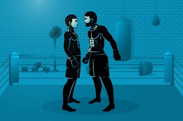 Deux boxeurs sont debout sur le ring