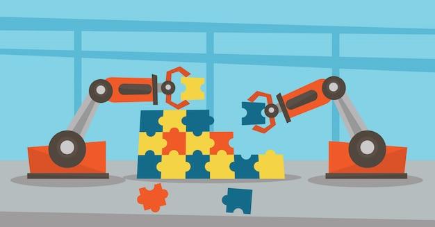 Deux bras robotiques construisant un puzzle coloré.