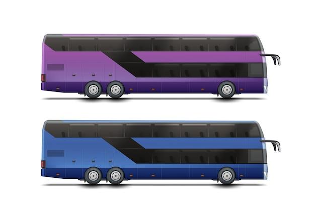 Deux bus à impériale de couleurs bleu et violet