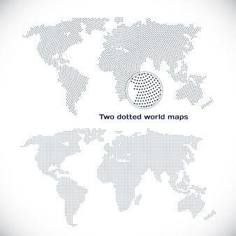Deux cartes du monde en pointillés