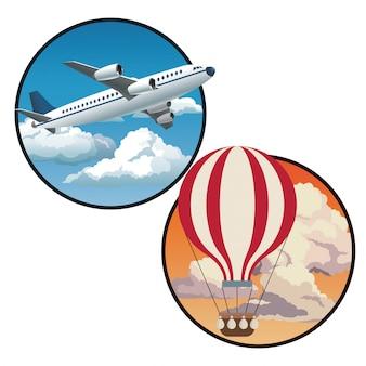 Deux cercles avec avion ciel bleu et ciel coucher de soleil airballoon