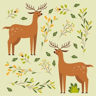 Deux cerfs en illustration vectorielle motif floral