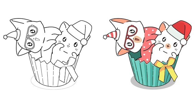 Deux chats dans la page de coloriage de dessin animé cup cake pour les enfants