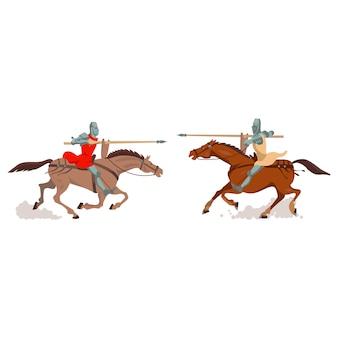Deux chevaliers sur des chevaux.