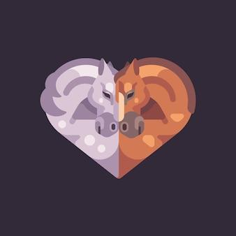 Deux Chevaux Romantiques En Forme De Coeur. Illustration Plat De Valentin. Vecteur Premium
