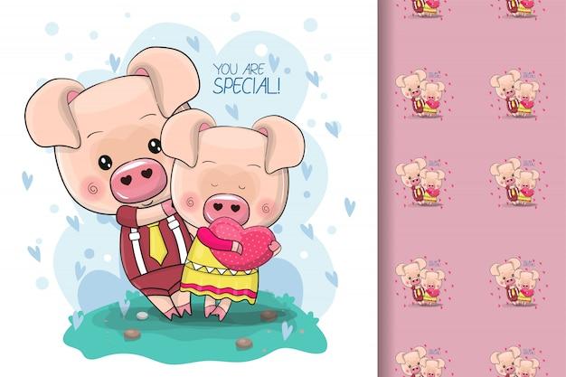 Deux cochons de dessin animé mignon sur fond bleu pour les enfants