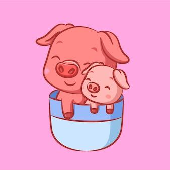 Deux cochons roses dormant sur une tasse de thé bleu