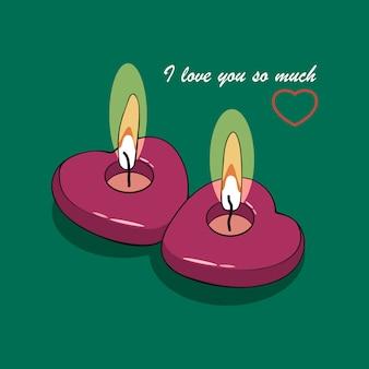 Deux coeurs de bougies allumées