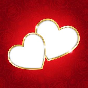 Deux coeurs sur fond rouge