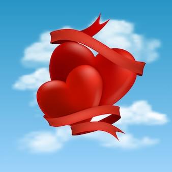 Deux coeurs planant dans les nuages, illustration.