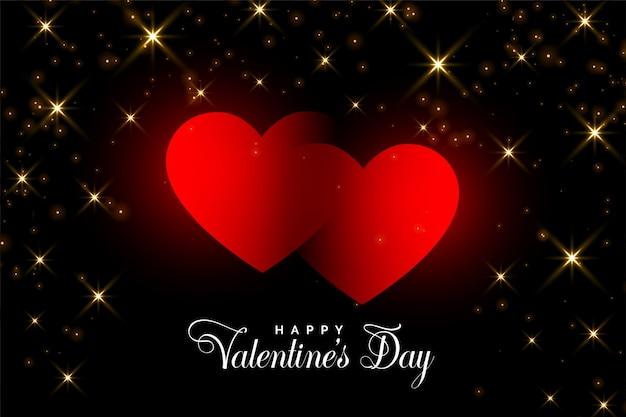 Deux coeurs rouges avec des paillettes dorées valentine