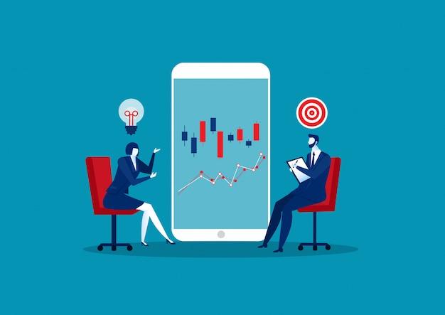 Deux consultants en affaires et proposent des idées sur le concept de croissance de la cible.