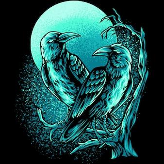 Deux corbeaux dans le noir