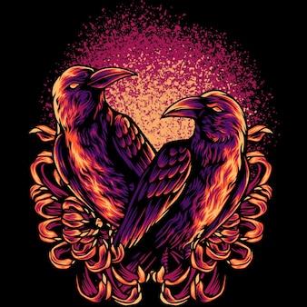 Deux corbeaux avec des fleurs