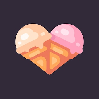 Deux cornets de crème glacée sous la forme d'une illustration plate de coeur