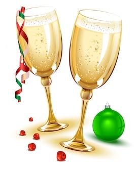 Deux coupes de champagne. réveillon du nouvel an