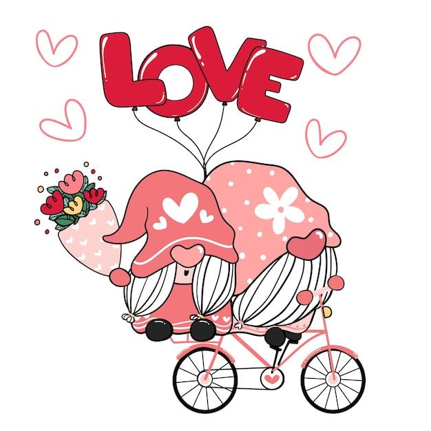Deux couple romantique gnome valentine sur vélo d'amour rose.