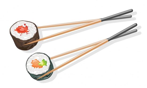 Deux couples de baguettes en bois tenant des rouleaux de sushi tekkamaki et futomaki.