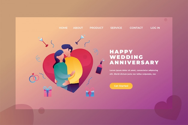 Deux couples célèbrent un anniversaire de mariage love & relationship web page header landing page template illustration