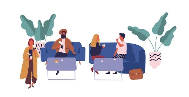 Deux couples de dessin animé buvant du café s'asseoir à table sur l'aire de restauration isolée sur blanc. les gens colorés se détendent sur le canapé avec de la nourriture et des boissons illustration vectorielle à plat. hommes et femmes passent du temps ensemble.