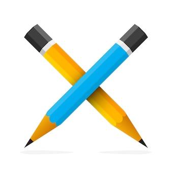 Deux crayons croisés isolés. concept d'éducation