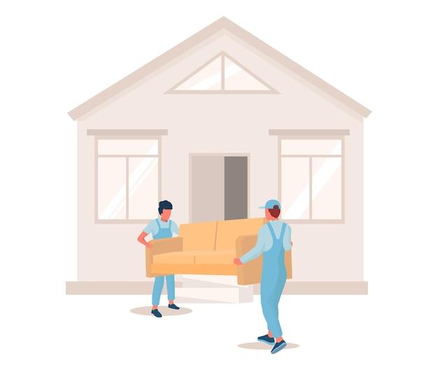 Deux déménageurs transportant un canapé vers une nouvelle maison, illustration vectorielle. déménagement. service d'entreprise de déménagement. livraison de meubles.